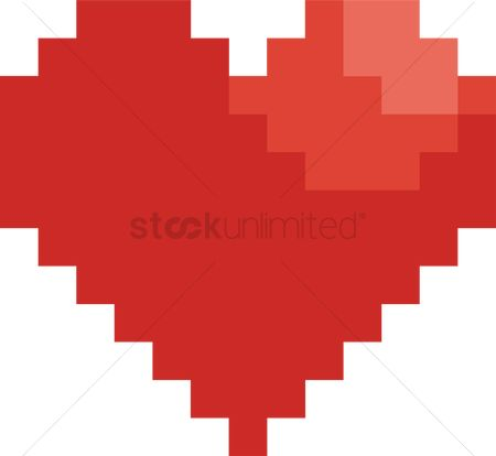 Vintage : Pixel heart shaped