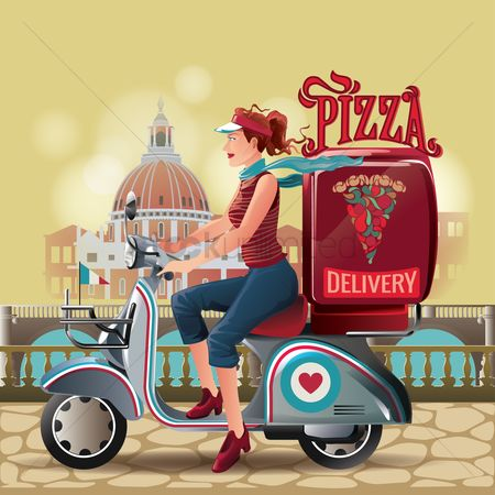 Transport : Pizza delivery girl