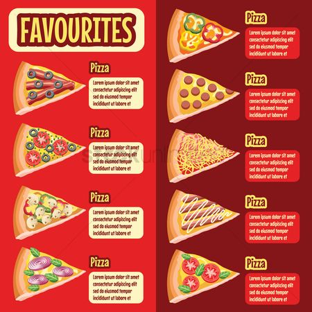 Pizzas : Pizza favourites menu design