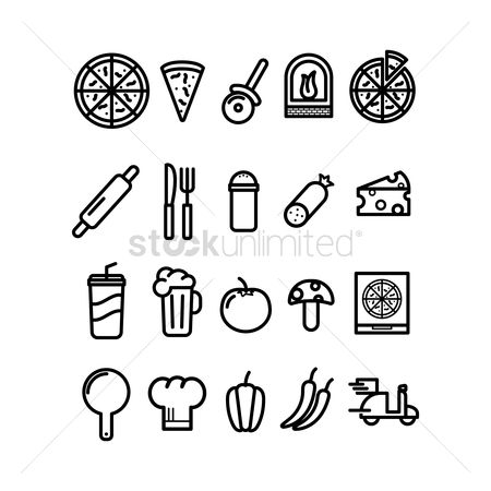 Scooters : Pizza icon set