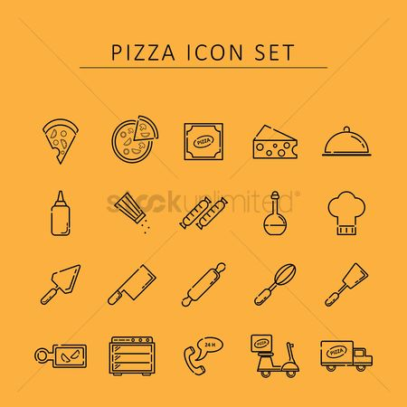 Pizza delivery : Pizza icon set