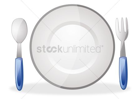 Dine : Plate with fork and spoon