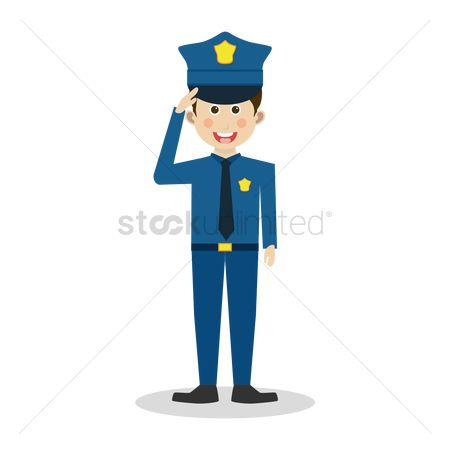 Policemen : Policeman salute with a smile