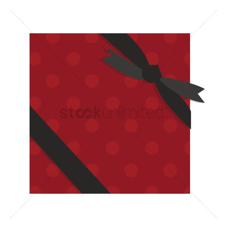 Shops : Red gift box with a black ribbon