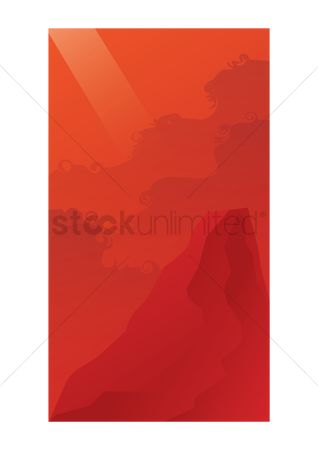 Sceneries : Red mountainous background