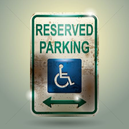 Wheelchair : Reserved parking sign