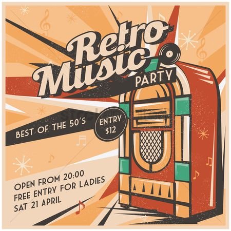 Musicals : Retro music party poster