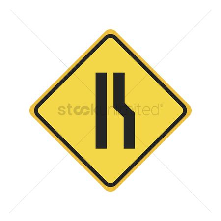 Narrow road ahead sign : Right narrow road sign