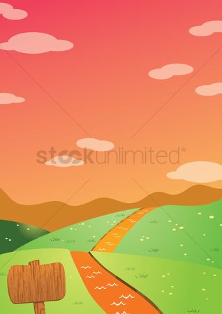 Journeys : Road with clouds and signboard