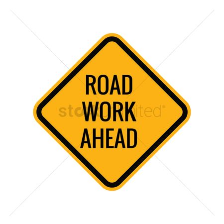 Attention : Road work ahead sign