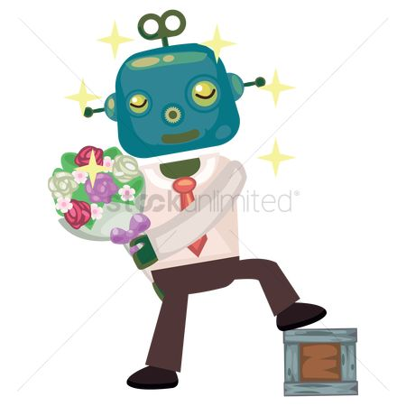 Mechanicals : Robot businessman holding a bouquet of flowers