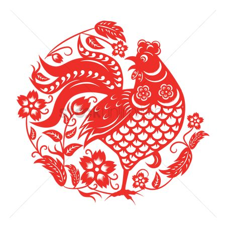 Roosters : Rooster in chinese paper-cutting