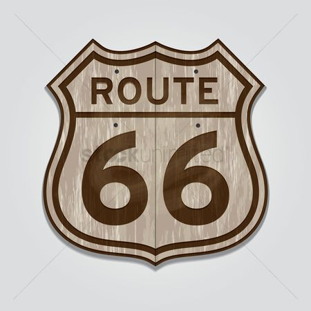 Wooden sign : Route sixty six