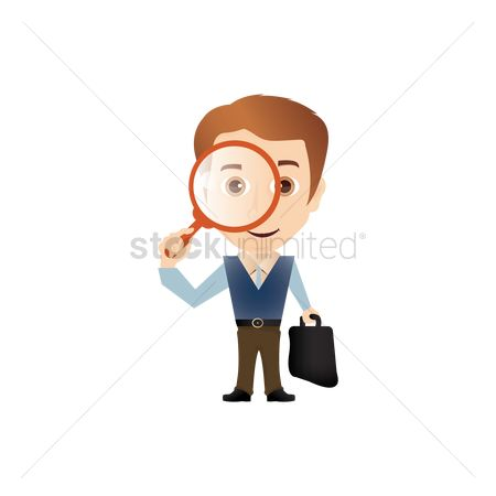Smart : Salesman holding magnifying glass and briefcase