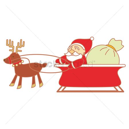 Sack : Santa claus on sleigh reindeer