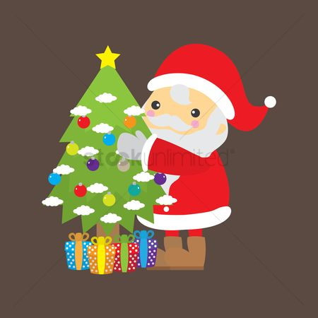 Gifts : Santa claus with christmas tree