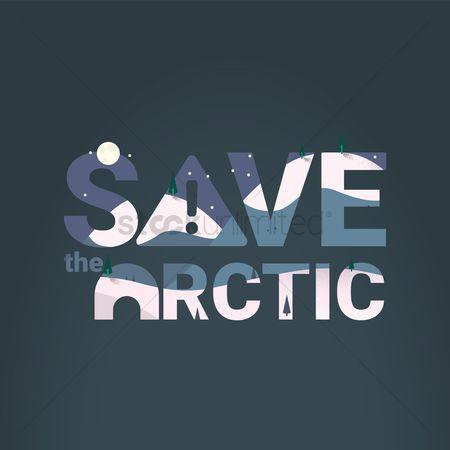 Save trees : Save the arctic with double exposure effect