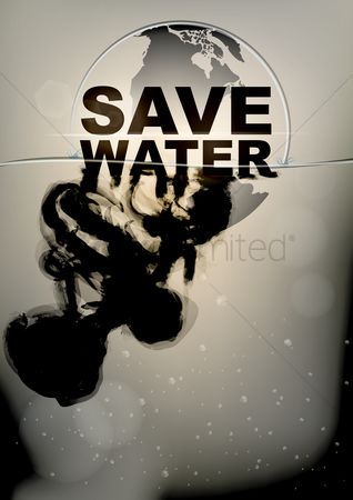 Pollutions : Save water poster
