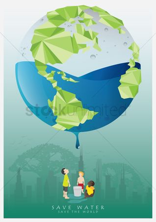 Kids : Save water poster