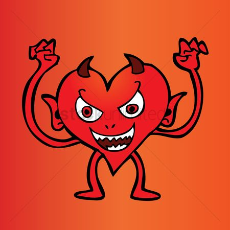 Heart : Scaring cartoon devil