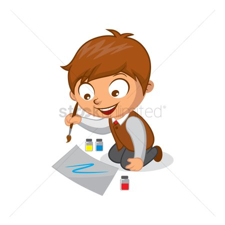 School children : School boy painting on paper