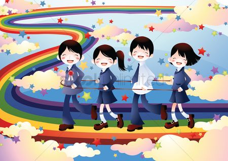 Play kids : School kids walking on a rainbow path