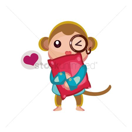 Love speech bubble : Scientist monkey holding pillow