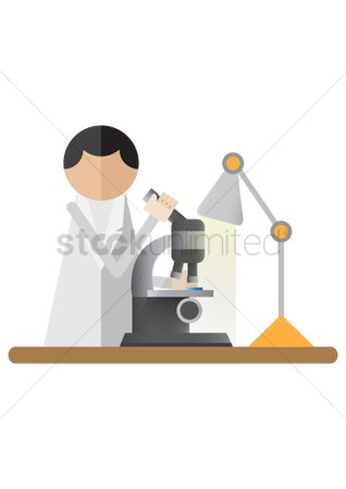 Illumination : Scientist using the microscope