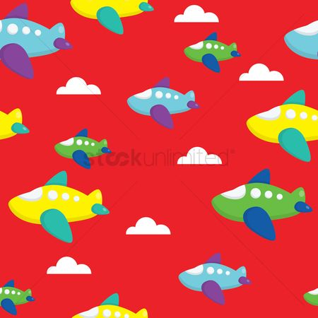 Toys : Seamless airplane background