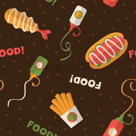 French : Seamless fast food pattern background