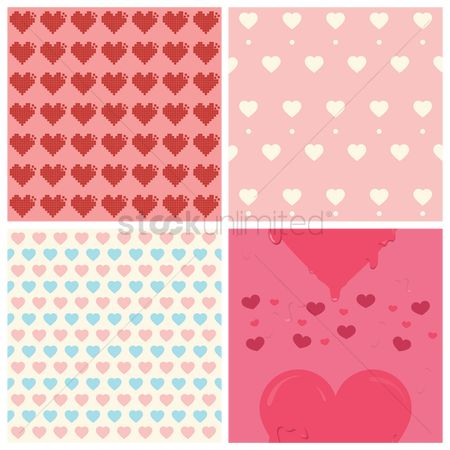 Dripping : Seamless heart patterns collection