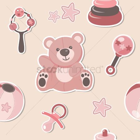 Teddybear : Seamless pattern of baby toys