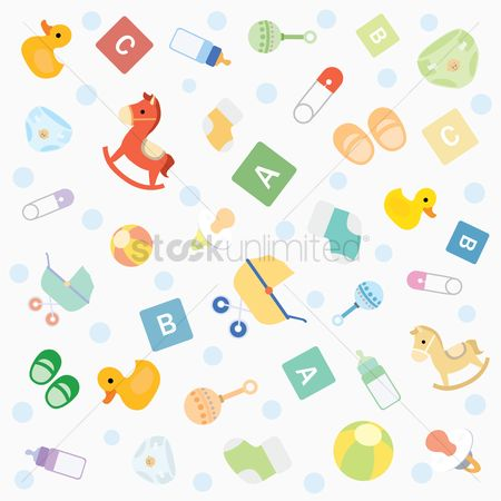 Cartoon : Seamless pattern of baby