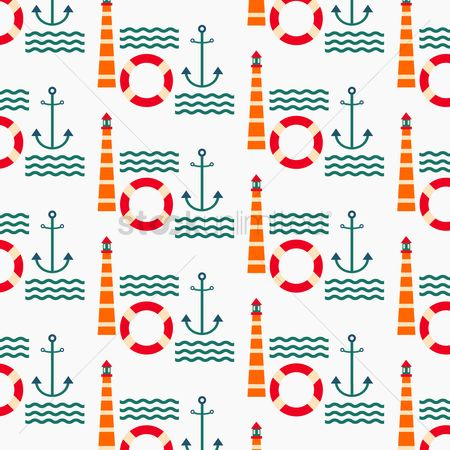 Lighthouses : Seamless pattern of lighthouse