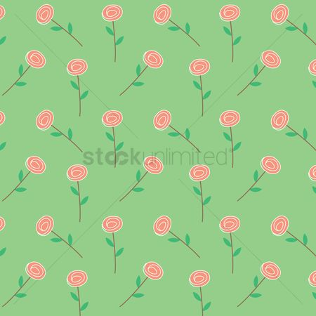 Stems : Seamless pattern of rose
