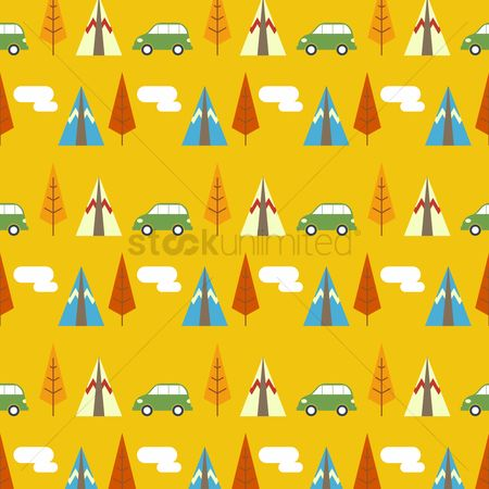 Background : Seamless pattern of vehicles and plants
