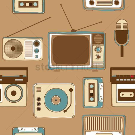 Microphones : Seamless pattern of vintage media gadgets