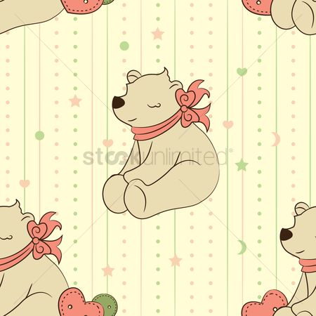 Teddybear : Seamless teddy bear background