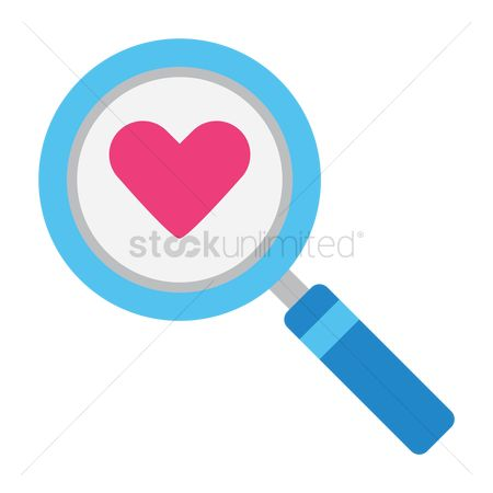 Online dating icon : Search icon with heart