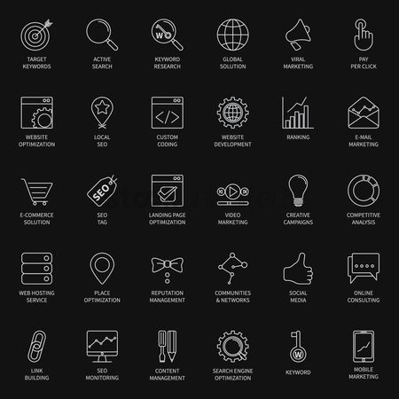 Linear : Seo and development icon set