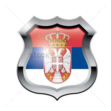 Tricolored : Serbia flag shield