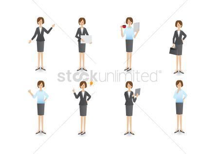 Contemplate : Set of a businesswoman s gestures