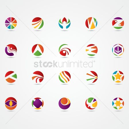 Red : Set of abstract logo elements