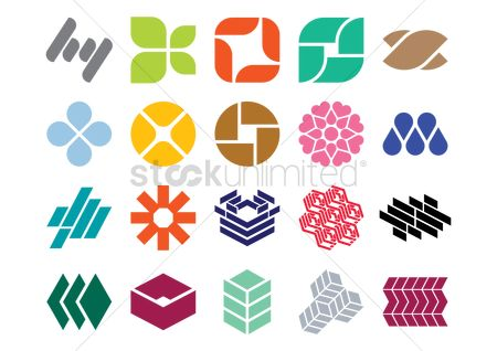 Heart shape : Set of abstract logo elements