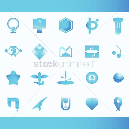 Heart shape : Set of abstract logos elements