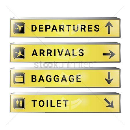 Airway : Set of airport signboards