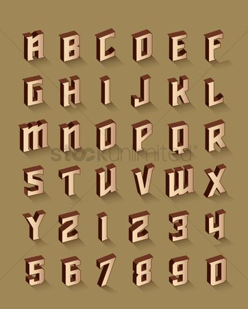 Fonts : Set of alphabet and number icons
