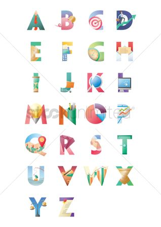 Magnifying : Set of alphabets