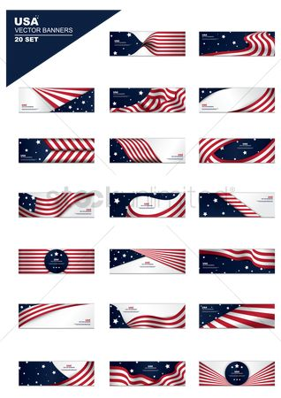 America : Set of american flag banners