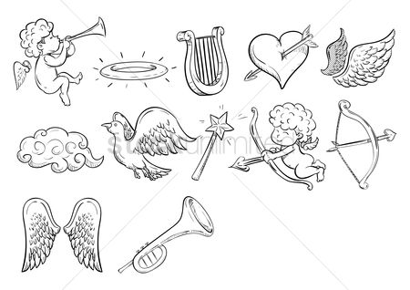 Trumpets : Set of angel icons